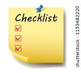 checklist  yellow paper sticker ...