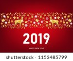 2019 happy new year greeting...   Shutterstock .eps vector #1153485799