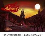 happy halloween day vintage... | Shutterstock .eps vector #1153489129