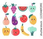 cute kawaii fruit and vegetable ...   Shutterstock .eps vector #1153489390
