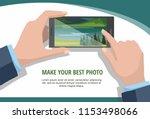 mobile photography concept. man ... | Shutterstock .eps vector #1153498066