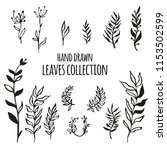 big hand drawn leaves set.... | Shutterstock .eps vector #1153502599