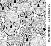 halloween seamless pattern with ... | Shutterstock .eps vector #1153502980