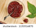 raspberry jam on bamboo... | Shutterstock . vector #1153516870