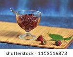 raspberry jam on bamboo... | Shutterstock . vector #1153516873