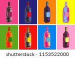 wine bottles hand drawing... | Shutterstock . vector #1153522000
