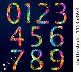 font   colorful numbers with...   Shutterstock .eps vector #115353934