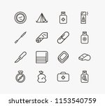 camping icon set and tent with...