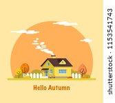 family suburban home. autumn... | Shutterstock .eps vector #1153541743