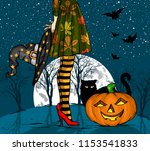 halloween night. witch with... | Shutterstock .eps vector #1153541833