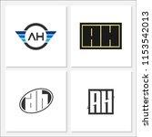 initial letter ah logo template ... | Shutterstock .eps vector #1153542013