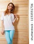 cheerful attractive girl near... | Shutterstock . vector #1153551736