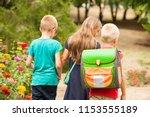 children return to school.... | Shutterstock . vector #1153555189
