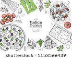 italian cuisine top view frame. ... | Shutterstock .eps vector #1153566439