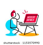 access denied linear concept.... | Shutterstock .eps vector #1153570990