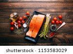 recipe of salmon with various...   Shutterstock . vector #1153583029