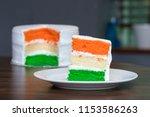 tri coloured layer cake... | Shutterstock . vector #1153586263