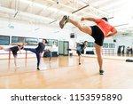 full length of male instructor... | Shutterstock . vector #1153595890