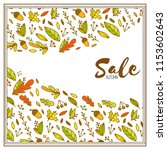 autumn sale with doodle leaves. ... | Shutterstock .eps vector #1153602643