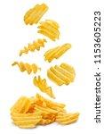 flying potato chips  isolated... | Shutterstock . vector #1153605223