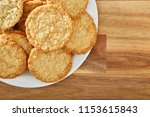 cookies on white plate and...   Shutterstock . vector #1153615843