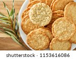cookies on white plate and...   Shutterstock . vector #1153616086