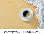 cup of coffee on wooden table...   Shutterstock . vector #1153616290