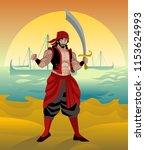 arab sinbad sailor with...   Shutterstock .eps vector #1153624993