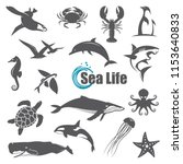 collection of black sea animals ... | Shutterstock .eps vector #1153640833