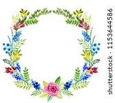watercolor  wreath  flowers ... | Shutterstock . vector #1153644586