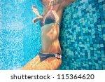 underwater woman relaxing in... | Shutterstock . vector #115364620