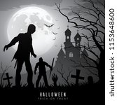 happy halloween zombies on moon ... | Shutterstock .eps vector #1153648600