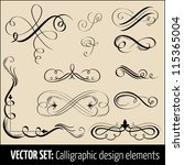 vector set of calligraphic... | Shutterstock .eps vector #115365004