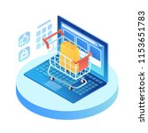 isometric laptop with shopping...   Shutterstock .eps vector #1153651783