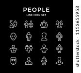 set line icons of people... | Shutterstock . vector #1153655953