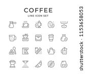 set line icons of coffee... | Shutterstock . vector #1153658053