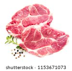 raw pork meat isolated on white ...   Shutterstock . vector #1153671073