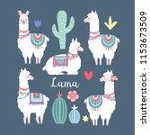 lama alpaca or guanaco graphic... | Shutterstock .eps vector #1153673509
