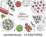 italian cuisine top view frame. ... | Shutterstock .eps vector #1153674946
