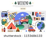 flat weekend elements set | Shutterstock .eps vector #1153686133