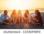 happy friends enjoyment... | Shutterstock . vector #1153694893