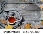 autumn composition  fall leaves ... | Shutterstock . vector #1153703500