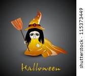 little witch with broom stick... | Shutterstock .eps vector #115373449