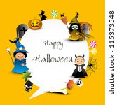 halloween set with space for... | Shutterstock .eps vector #115373548