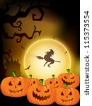 halloween night background with ... | Shutterstock .eps vector #115373554