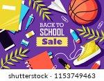 back to school vector banner in ... | Shutterstock .eps vector #1153749463