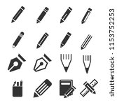 pencil  pen  stationary icons | Shutterstock .eps vector #1153752253