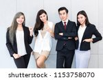 successful company with happy... | Shutterstock . vector #1153758070