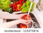 fresh vegetables under water... | Shutterstock . vector #115375876