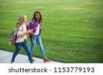two diverse school kids walking ... | Shutterstock . vector #1153779193